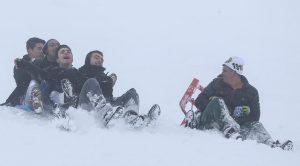 Başkentlilerin kayak keyfi