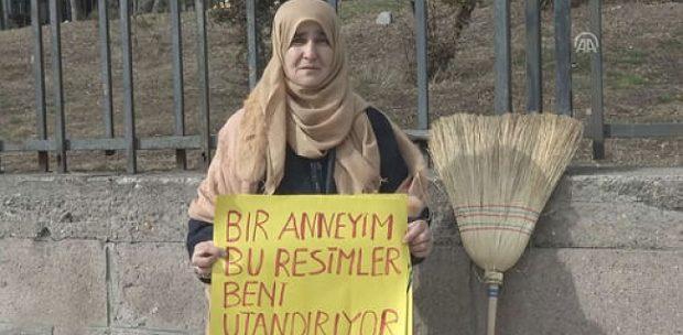 """Ankara'da fuhuş kartvizitlerine """"süpürgeli"""" tepki"""